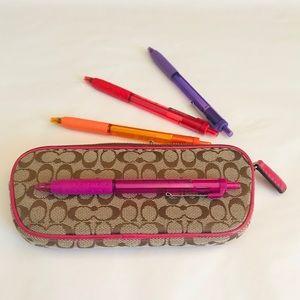 Coach signature canvas pencil  eyeglass case